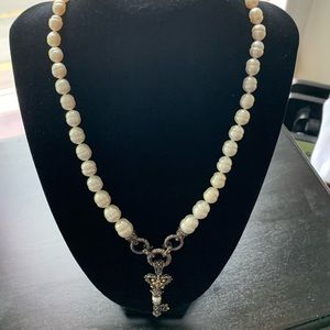 Barbara Bixby Sterling Pearl Key Necklace.